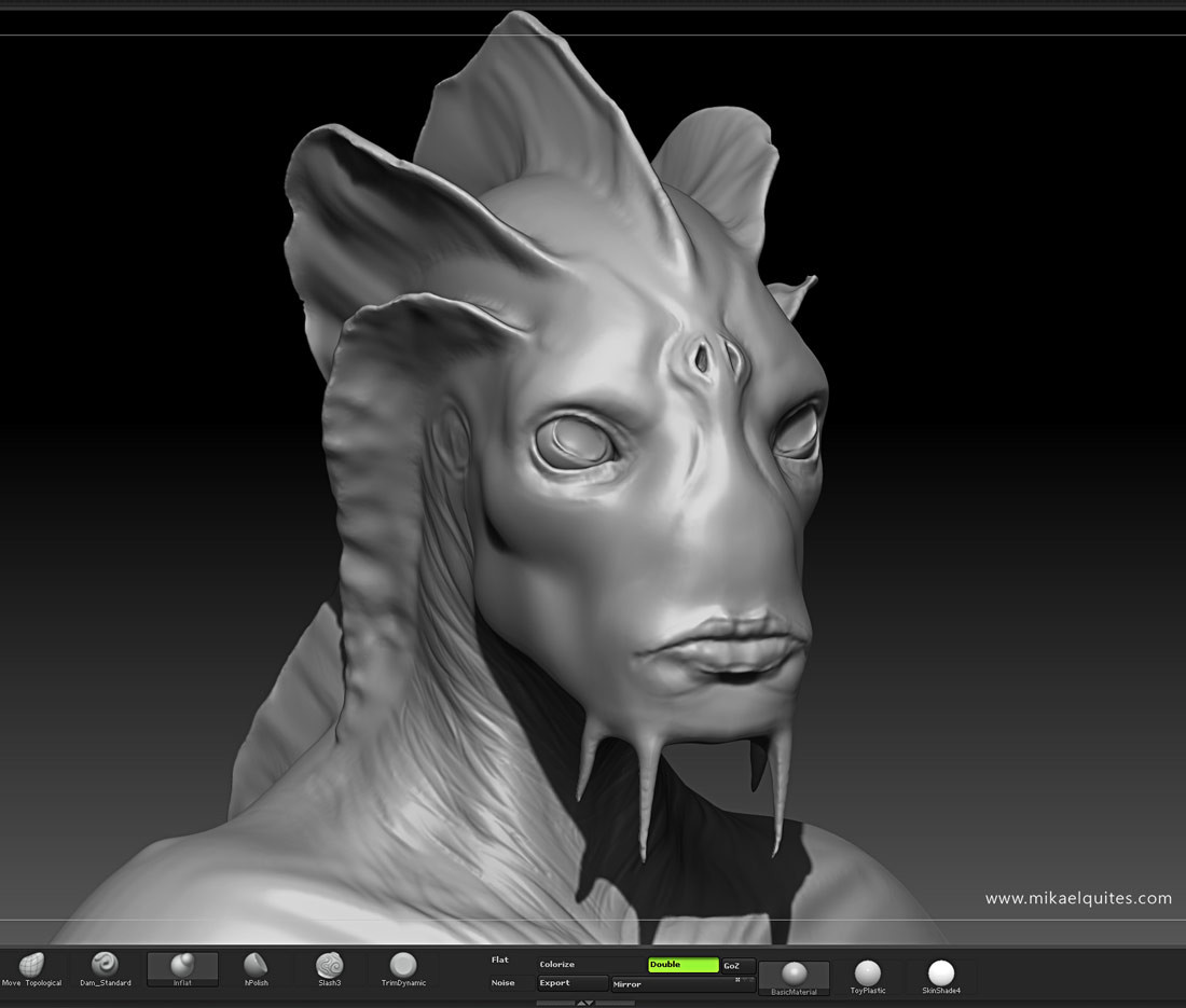 I then went to ZBrush and sculpted a bust