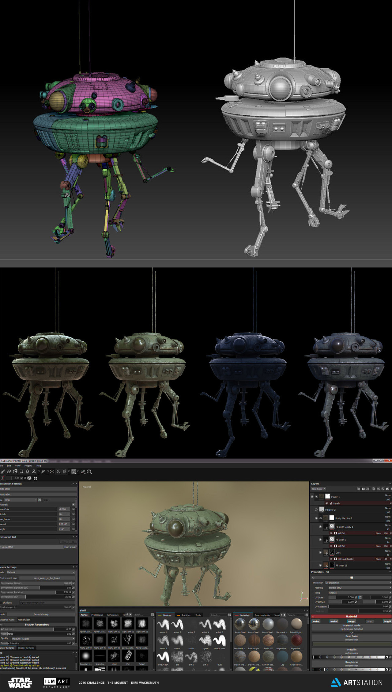 Probe Droid model and texturing in Substance Painter