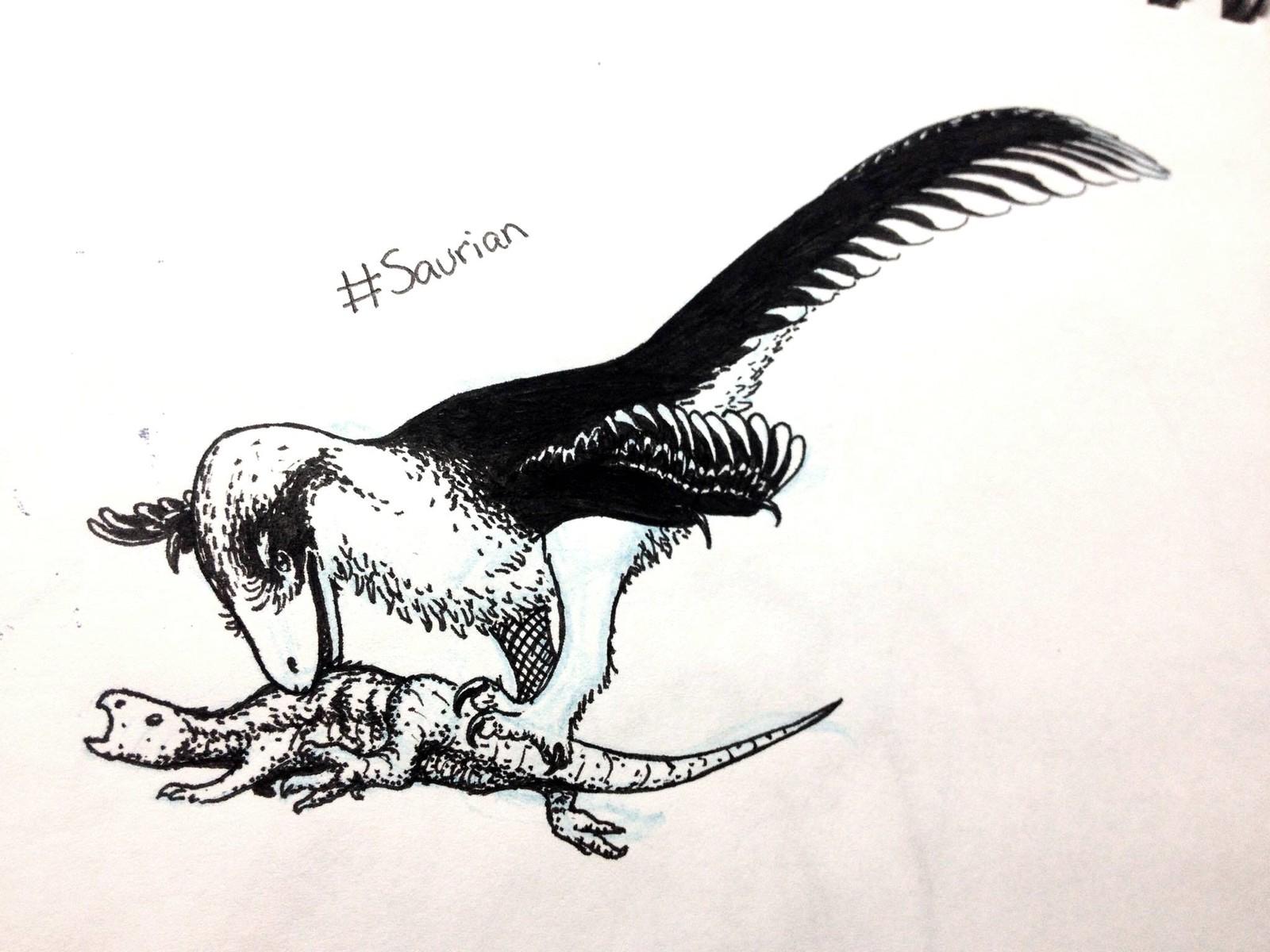 Saurian's Dakotaraptor attacking small herbivore