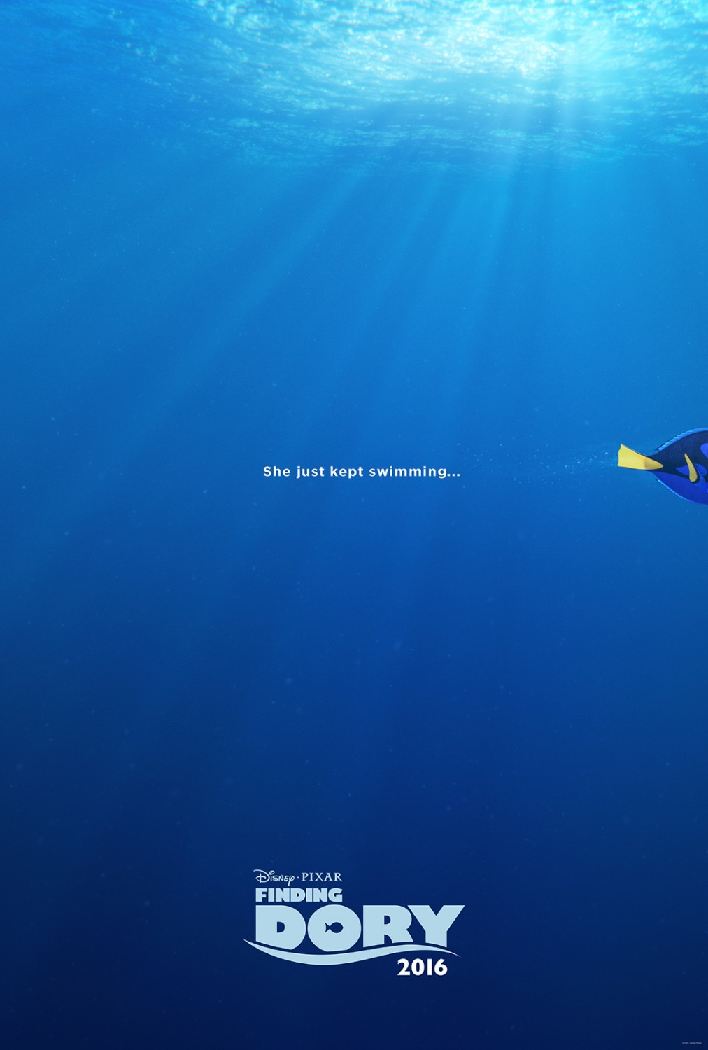 Film Poster: Painted the bubbles trailing behind Dory and some of the ripples on the water surface.