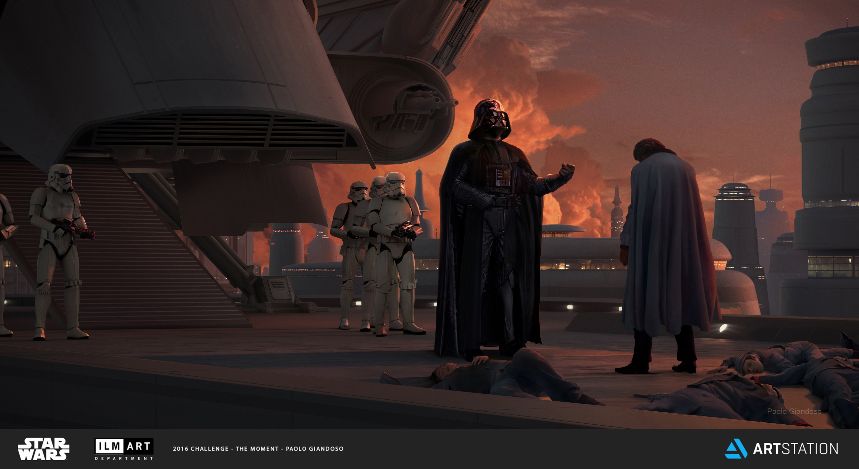 The Deal: Darth Vader forces Lando to betray his friends. The  Sith Lord has force-chocked all of Lando´s guards to death in a display of power and Lando, for the sake of the citizens of Cloud city, accepts Vader's deal.