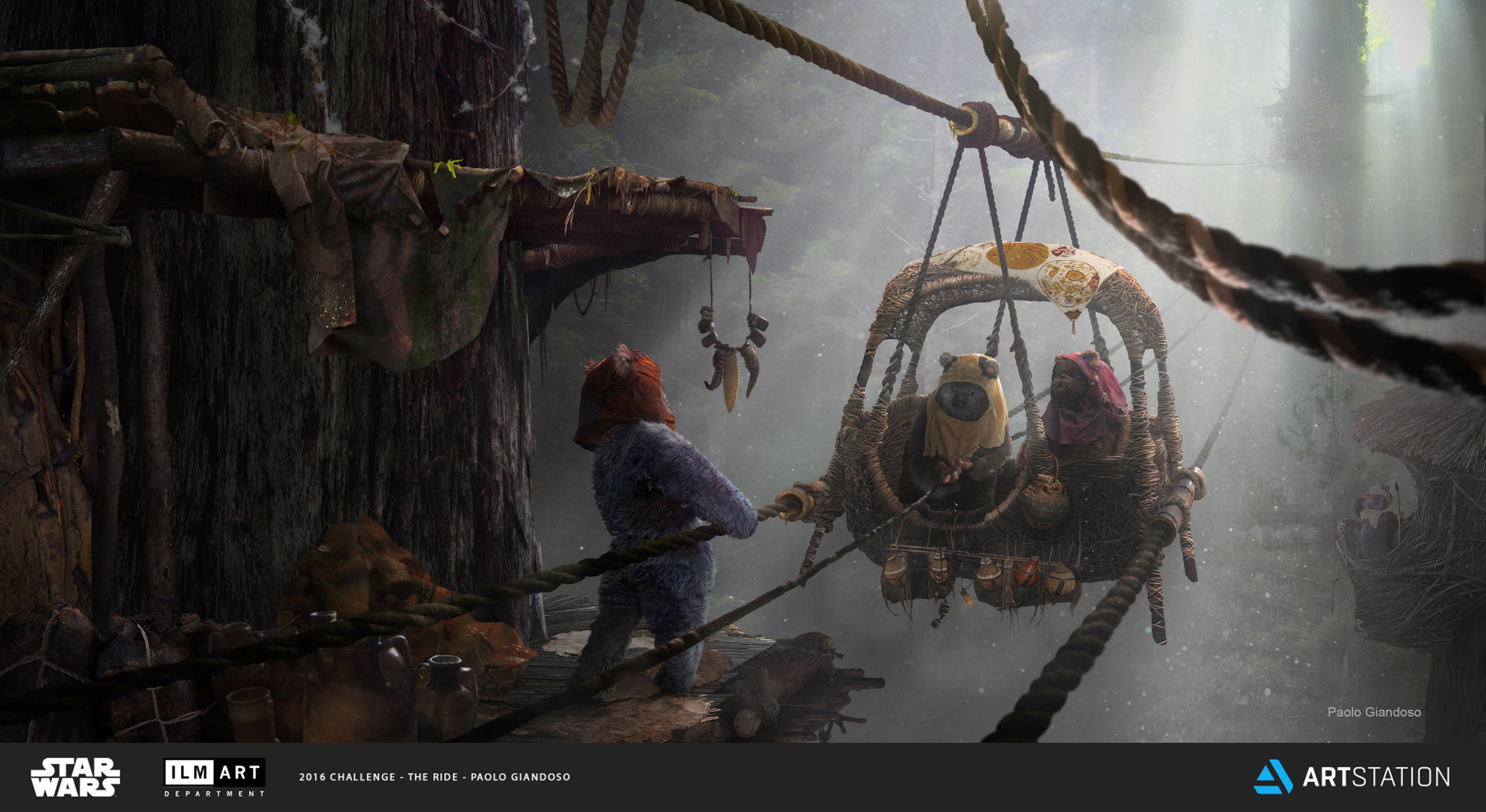 It may be a haphazard form of transportation, but for the areas of Endor that are unsafe to cross, the Ropeway is the Ewok's best chance of survival. Since accidents do happen, they place holy symbols on the baskets and have the Shaman bless it regularly.