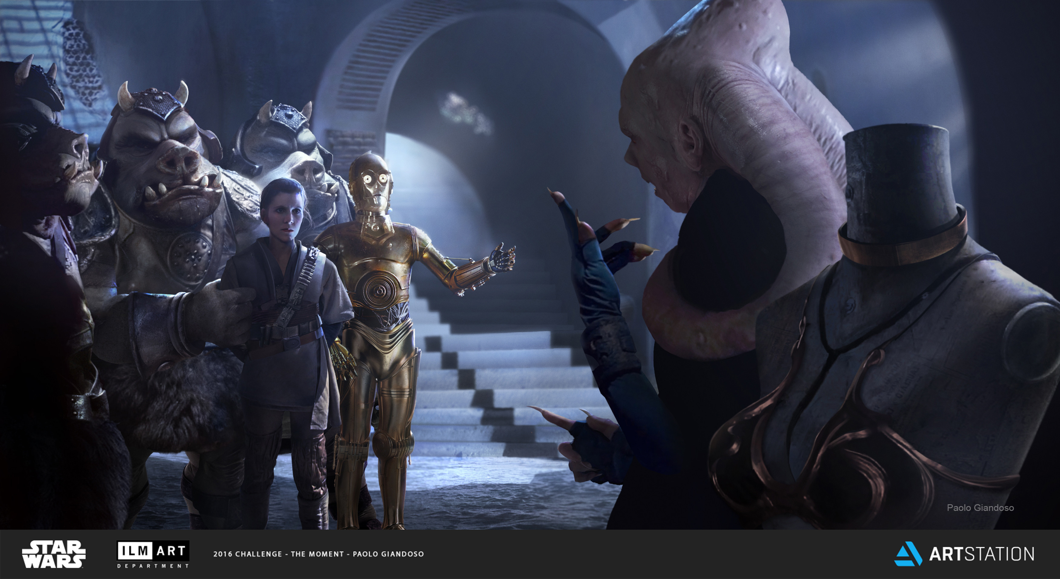 Oh Dear!: This moment happens right after Leia has been unmasked in Jabba´s palace. Bib Fortuna shows Senator Organa what garment His Excellency wants her to wear from now on.  C3PO is of course there to translate.