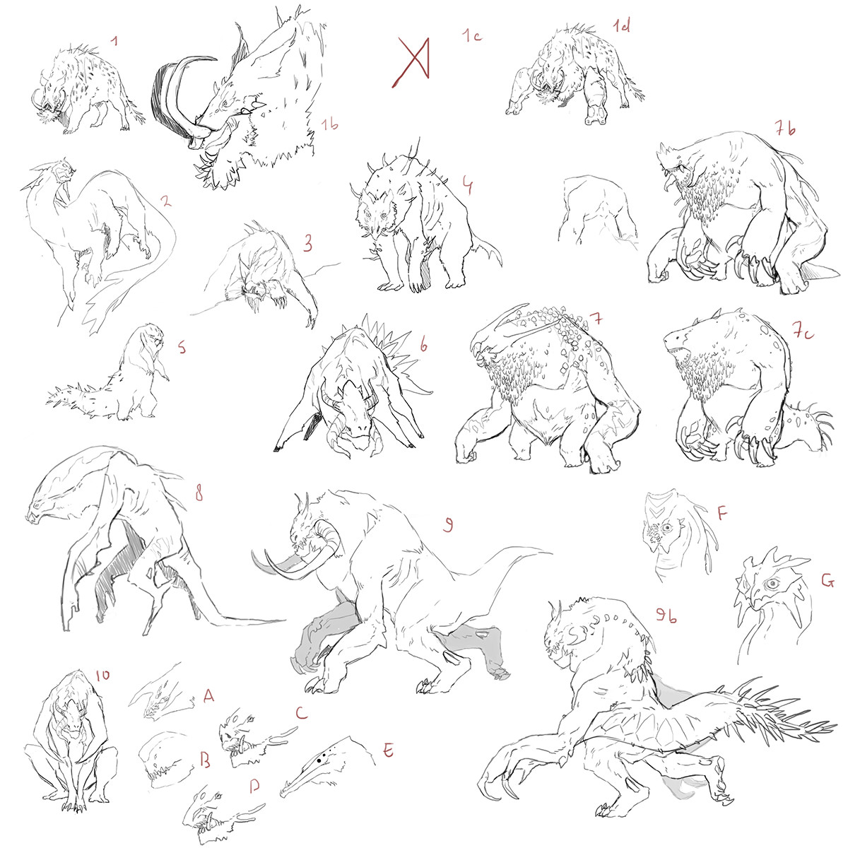 first sketches for the monster design
