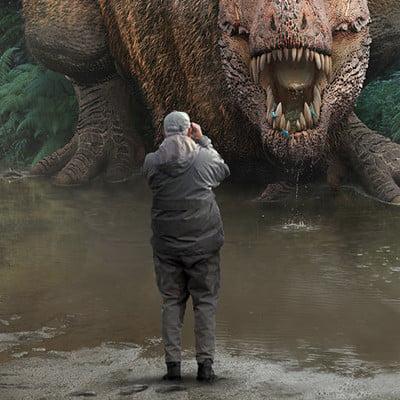Damir g martin tyrannosaurus on a watering hole fun