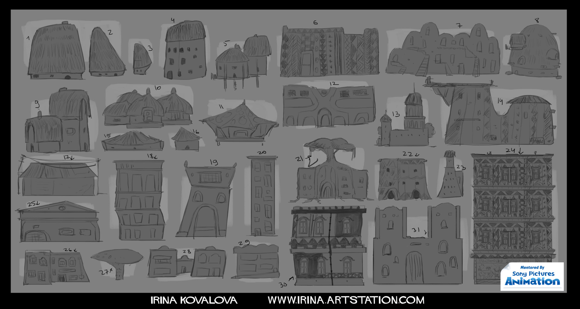 """Various buildings I designed for a short animated film """"Eat, Prey, Love"""" (written and directed by David Feiss) during the Animation Base Camp."""