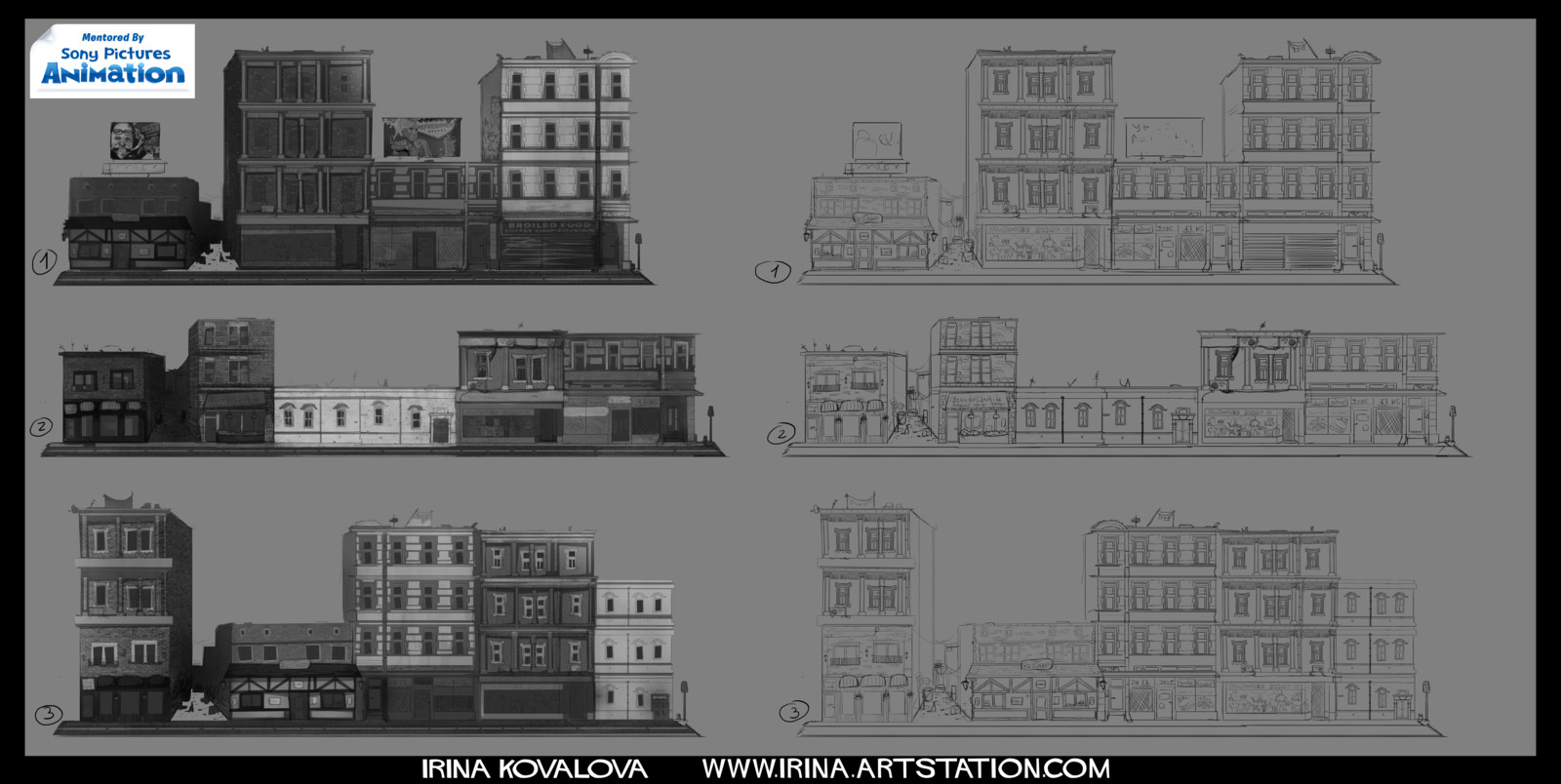 "Various buildings I designed for a short animated film ""Eat, Prey, Love"" (written and directed by David Feiss) during the Animation Base Camp."