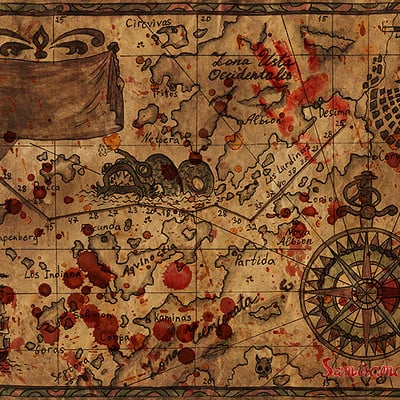 Vera petruk samiramay pirate map with bloody drops