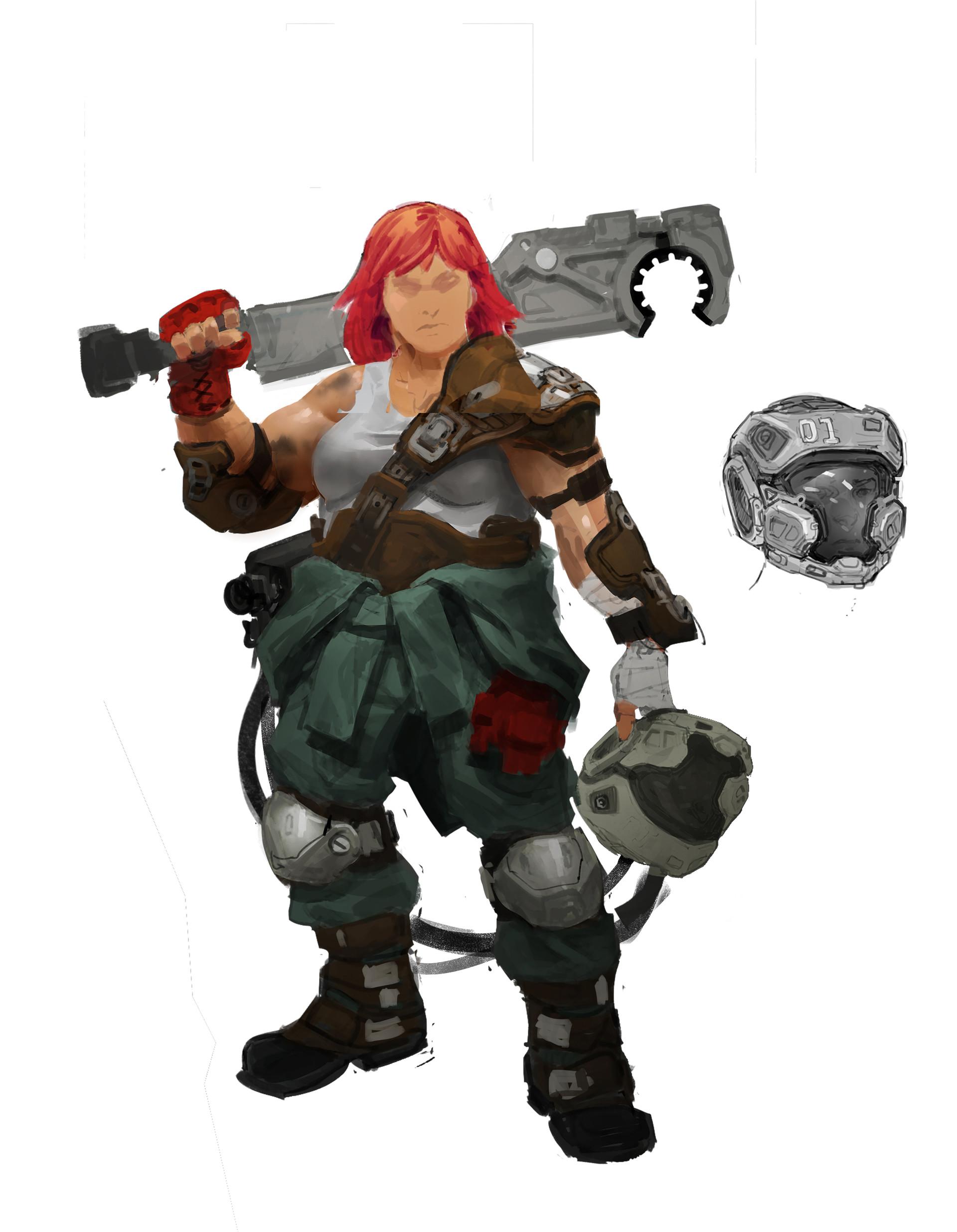 Kory hubbell female tank pilot sketch 3