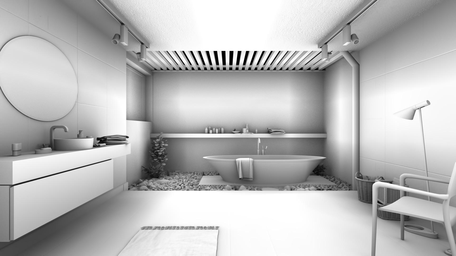David Baylis Design - Architectural Visualisation - Zen Bathroom