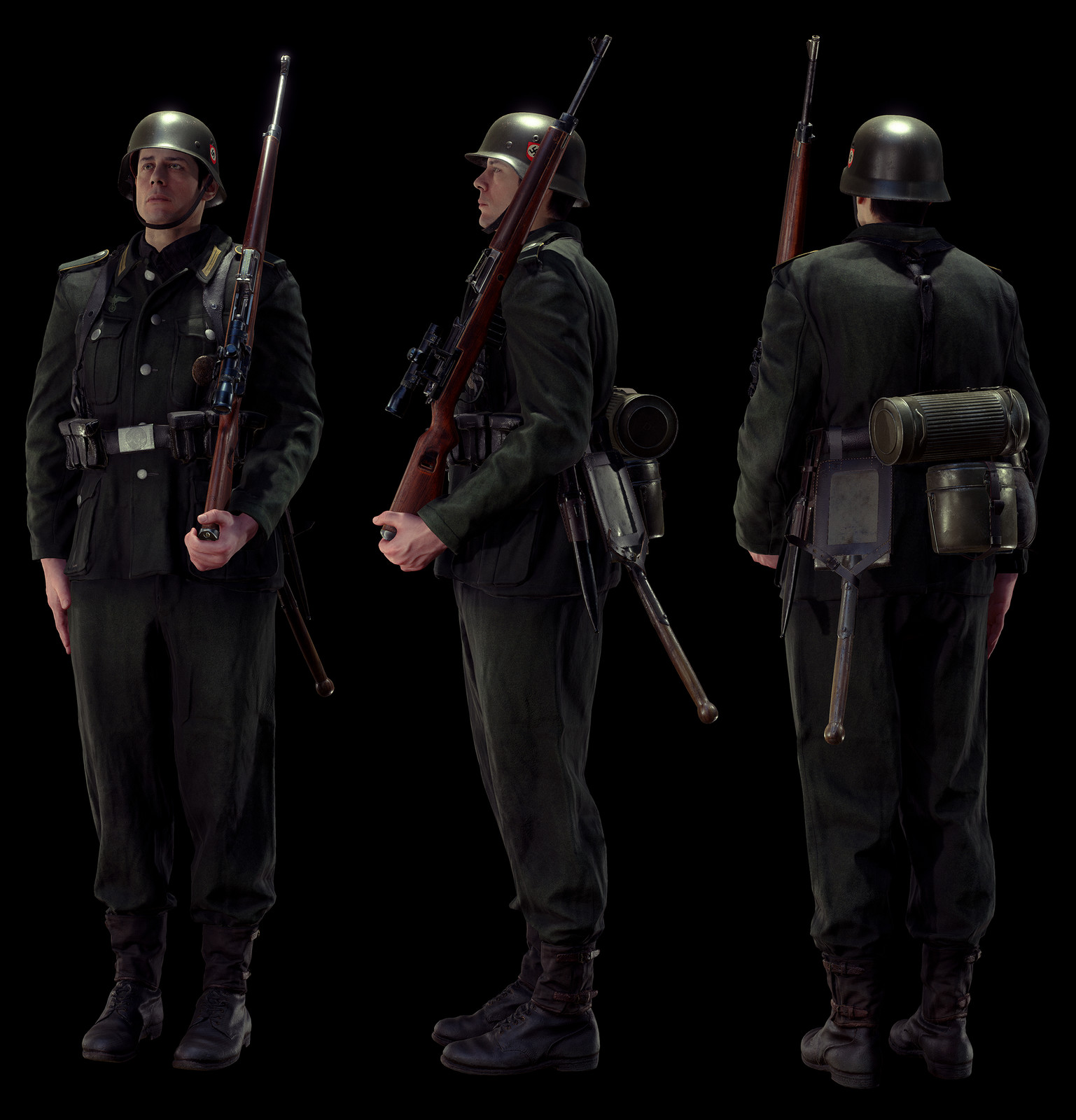 Wehrmacht standing at attention with Gewehr 43