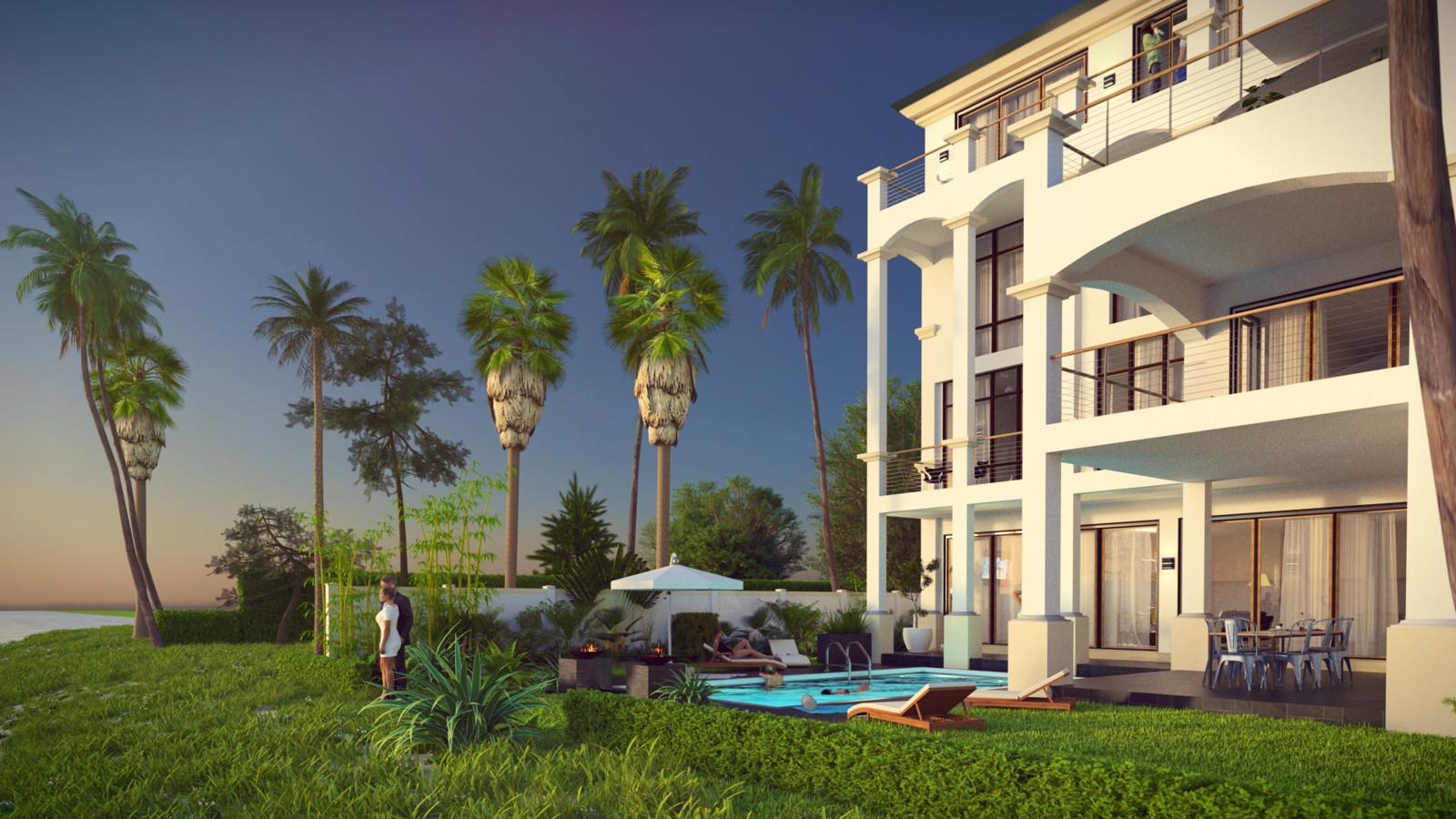 SketchUp + Thea Render  Seagrove Beach House: Back Garden 02 2pt Studio A Lumina Early 1920 × 1080 Presto MC Bucket