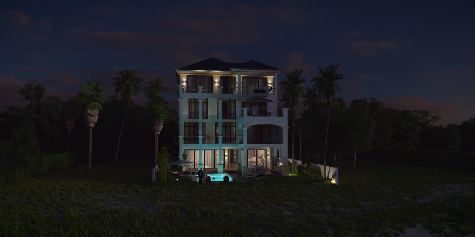 SketchUp + Thea Render  Seagrove Beach House: Scene 51 b 2pt Night B Lumina 2160 × 1080 Presto MC Bucket