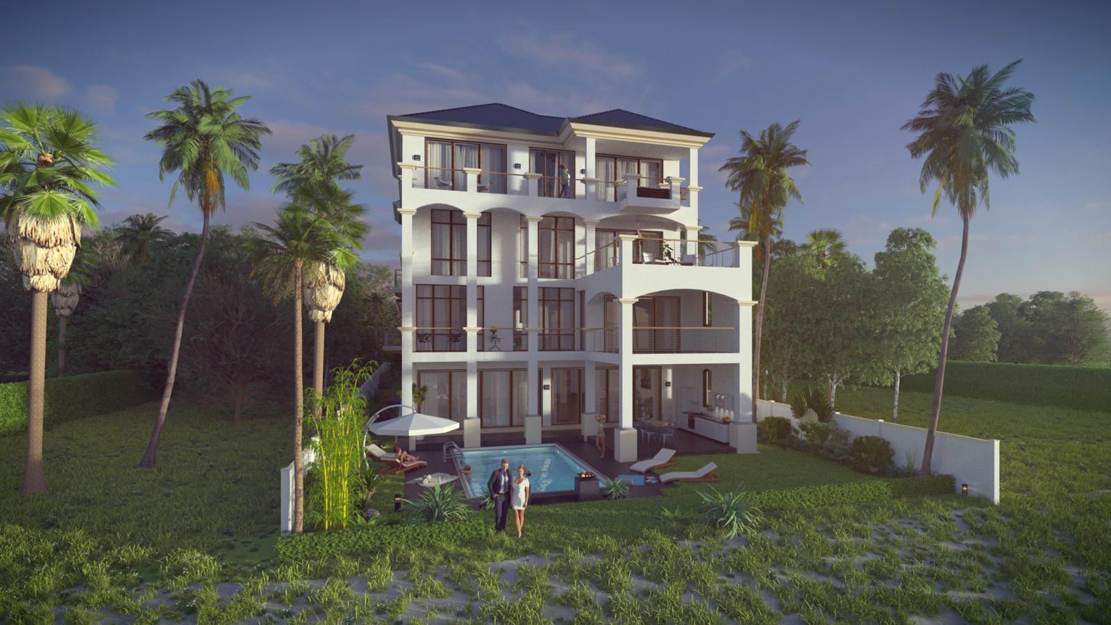 SketchUp + Thea Render  Seagrove Beach House: Scene 54 2pt Studio B Lumina Rise 1920 × 1080 Presto MC Bucket