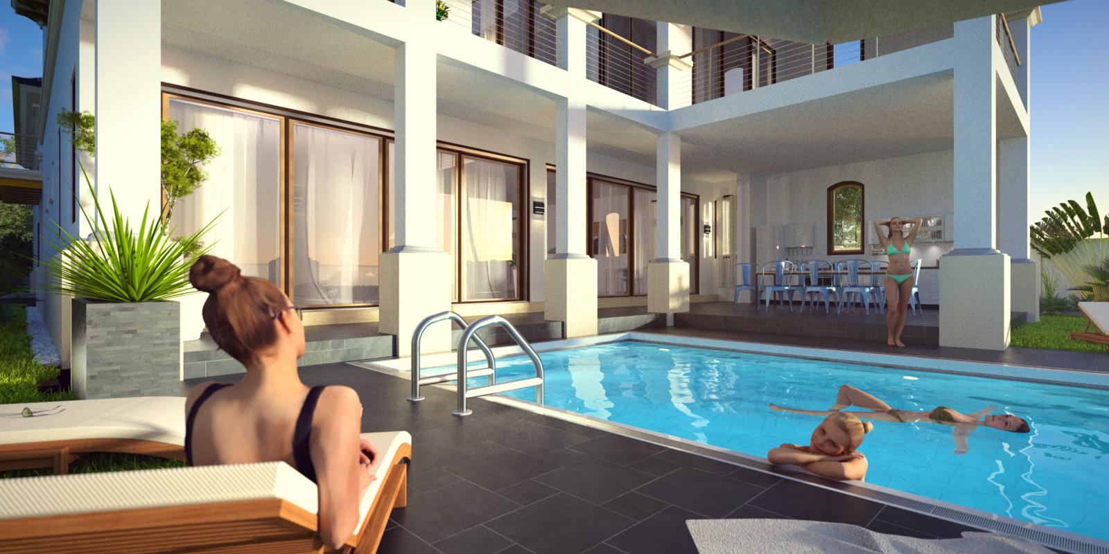 SketchUp + Thea Render  Seagrove Beach House: Scene 23 B Lumina Rise 2160 × 1080 Presto MC Bucket