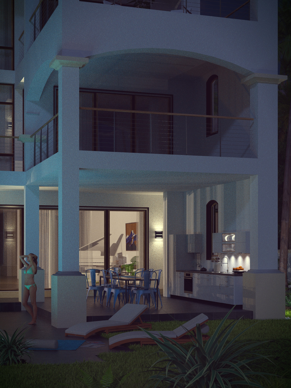 SketchUp + Thea Render  Seagrove Beach House: Ext Kit 01 2pt Vert 4-3 Night A Lumina 1080 × 1440 Presto MC Bucket