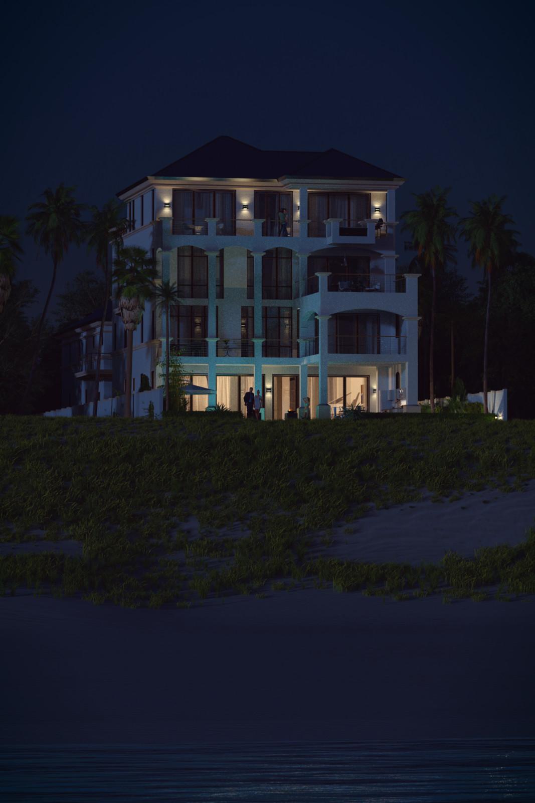 SketchUp + Thea Render  Seagrove Beach House: From Water 02 Night A Lumina 1080 × 1620 Presto MC Bucket