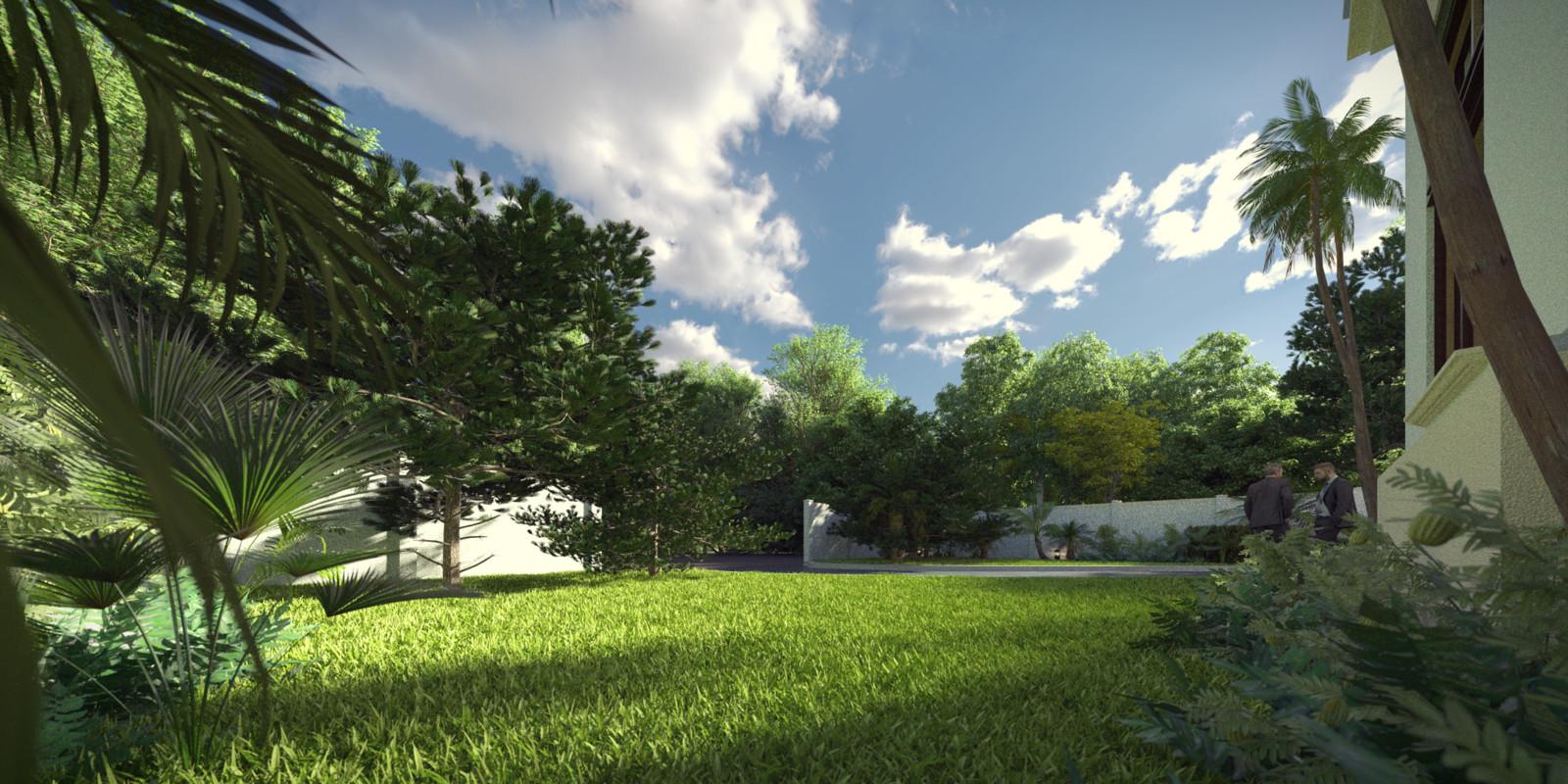 SketchUp + Thea Render  Seagrove Beach House: Front Garden floor lvl 2pt A Bob Lumina 2160 × 1080 Presto MC Bucket