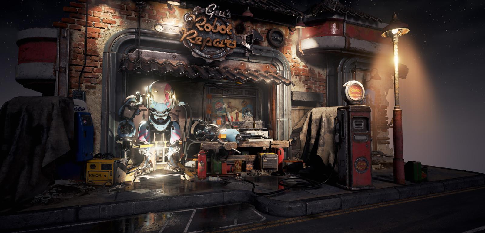 Fallout 4 Inspired Mech Garage Diorama