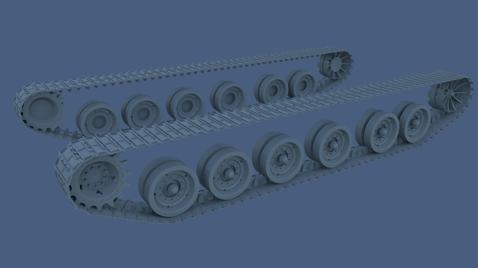 Week 1 WIP render of track and wheel set for Merkava Mk4 tank.