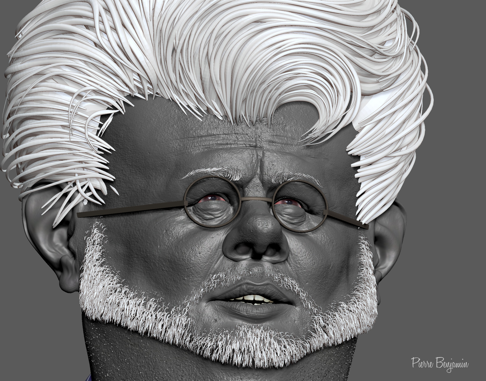 Georges lucas 3D sculpt based upon a 2d caricature by Jason seiler