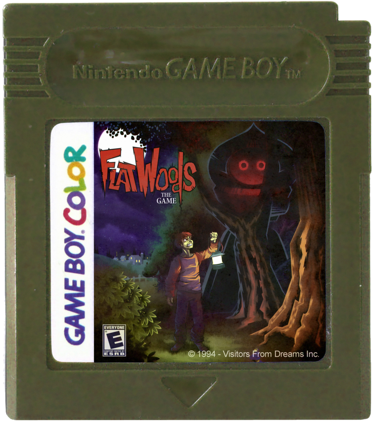 mock-up of cartridge with cover art and logo