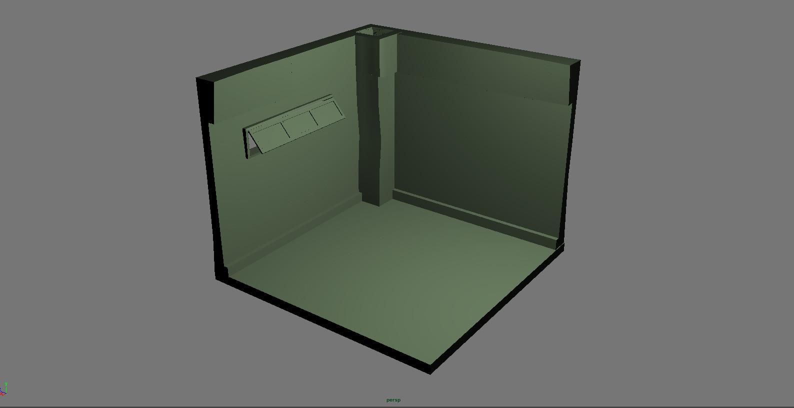 3D model mock up of corner section concept