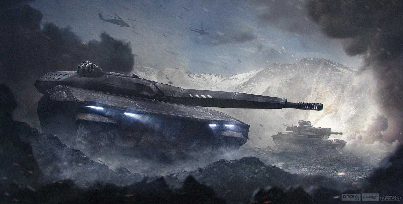 Futuristic PL-01 with gorgeous M60A2 Patton starship