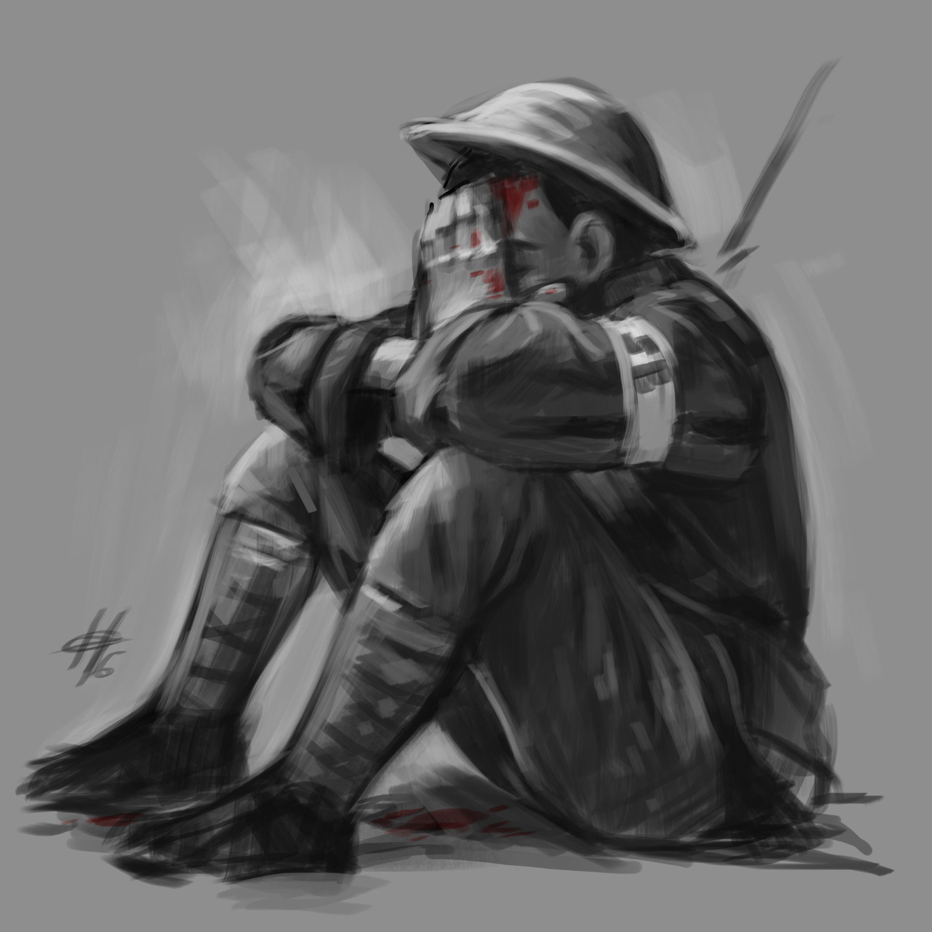 Crying soldier speed sketch