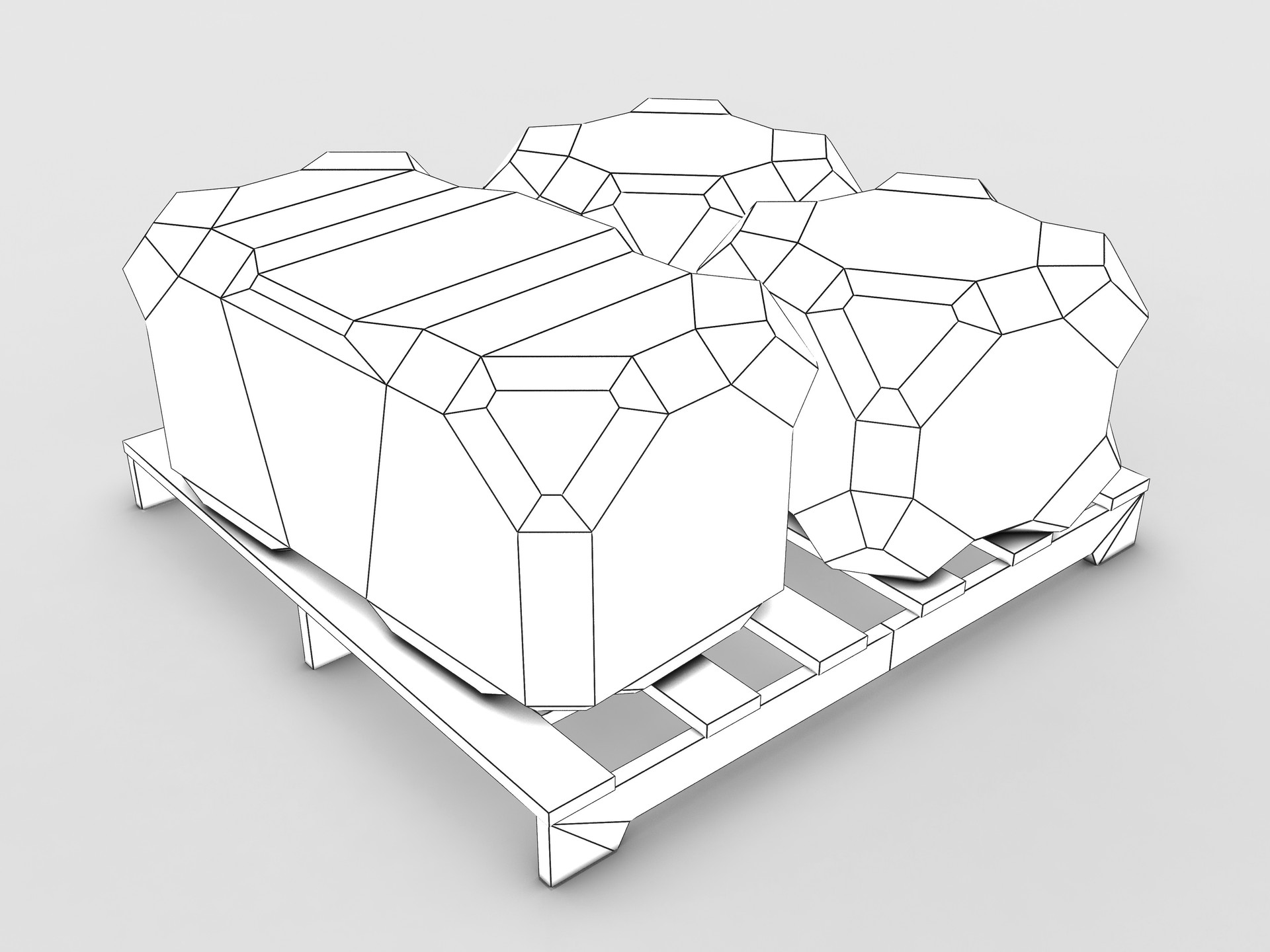 Sci-fi crate and pallet ambient occlusion and wire frame