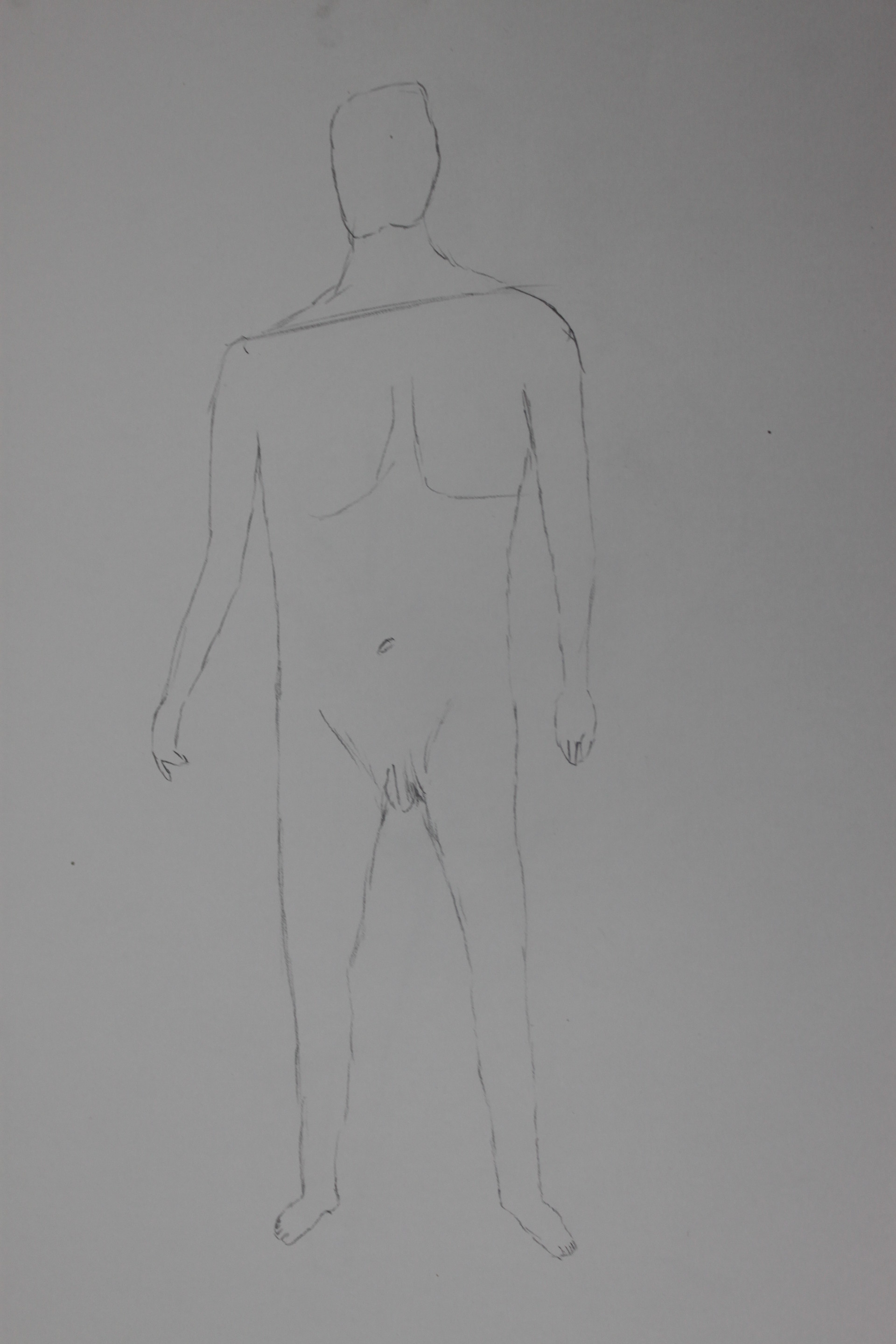 5 minute sketch from second week used hb pencil i did well with the proportions on this sketch with this i made the torso a little bit too wide and the