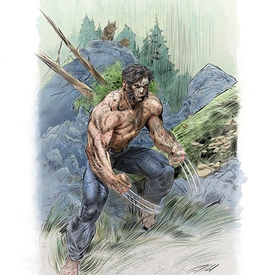 Timothy klanderud tims wolverine ink and color half