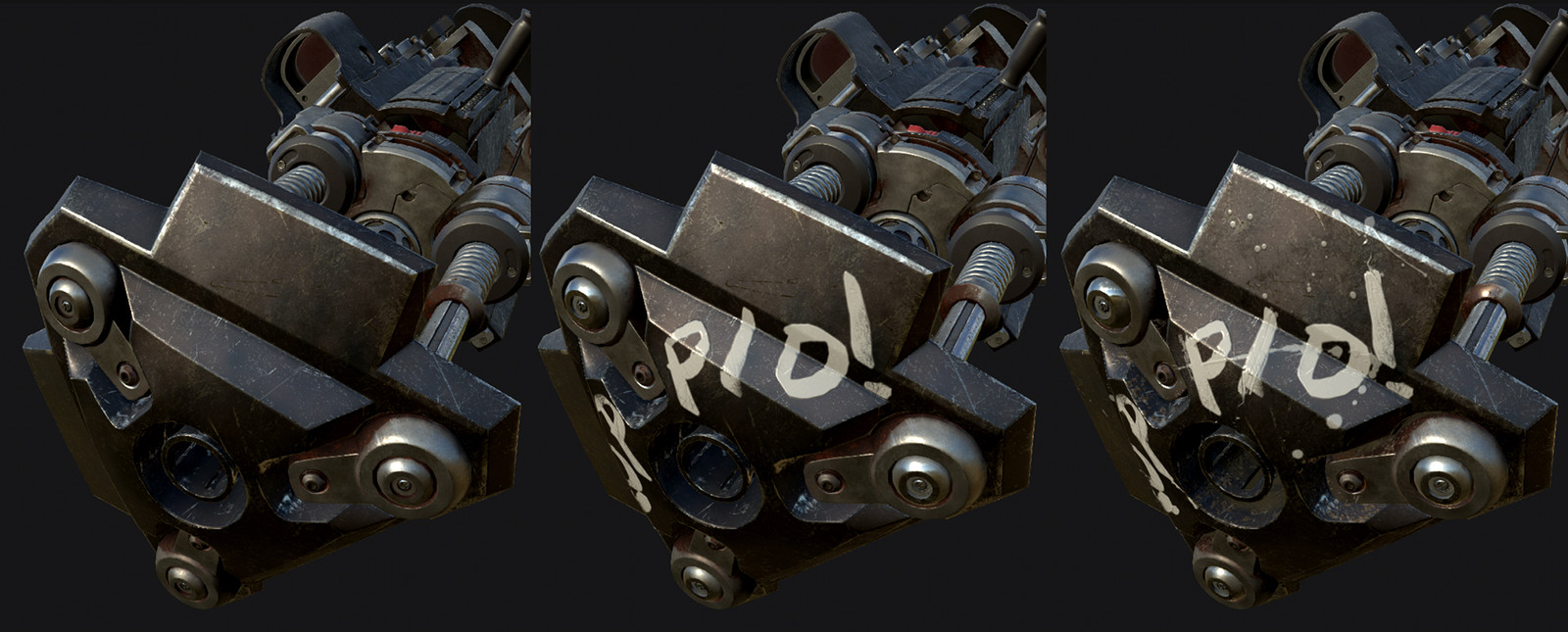More info in the Metal and Paint video above, but basically used one of the sharpie brushes to brush the letters on, then used some alphas from Pixologic to add a little splatter and height breakup: https://pixologic.com/zbrush/downloadcenter/alpha/