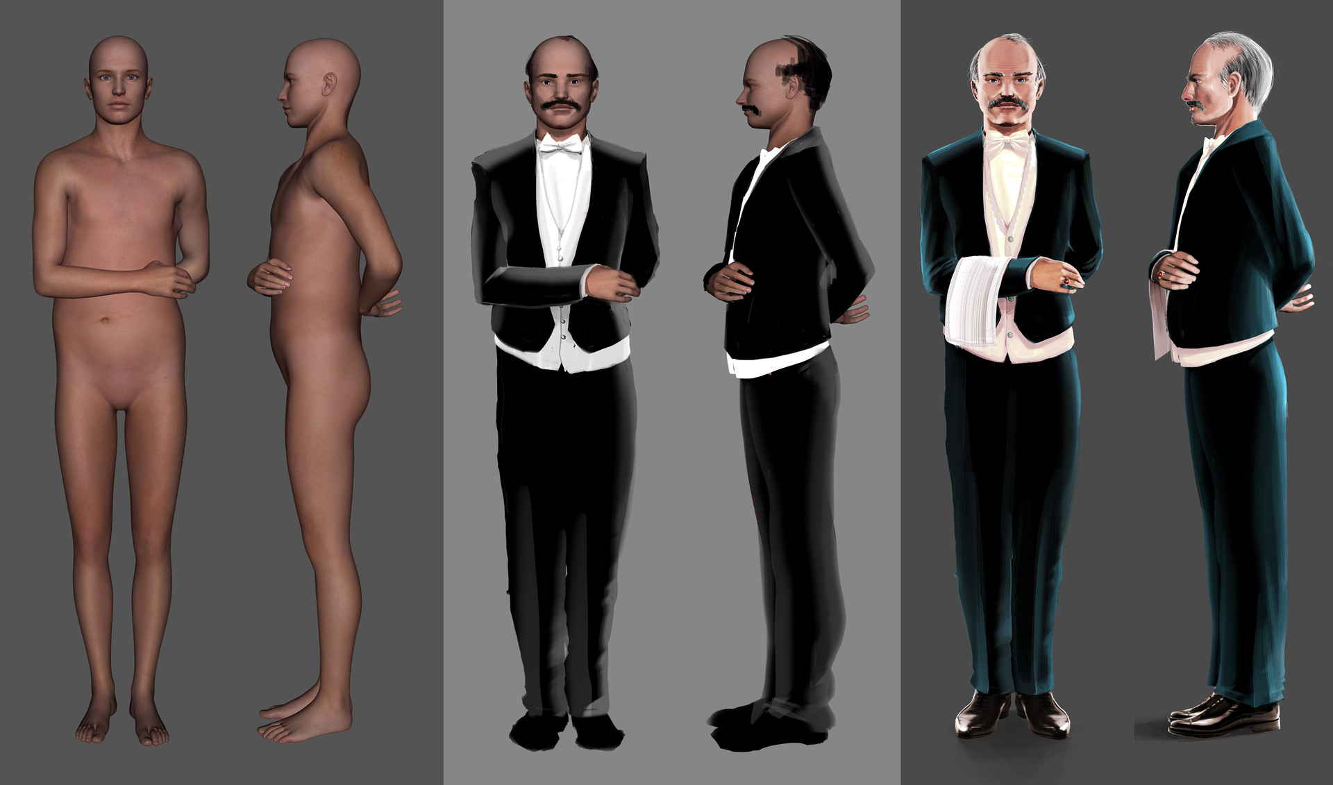 Process for The Butler. Very quick Daz render, super fast paintover, and finally adding details.