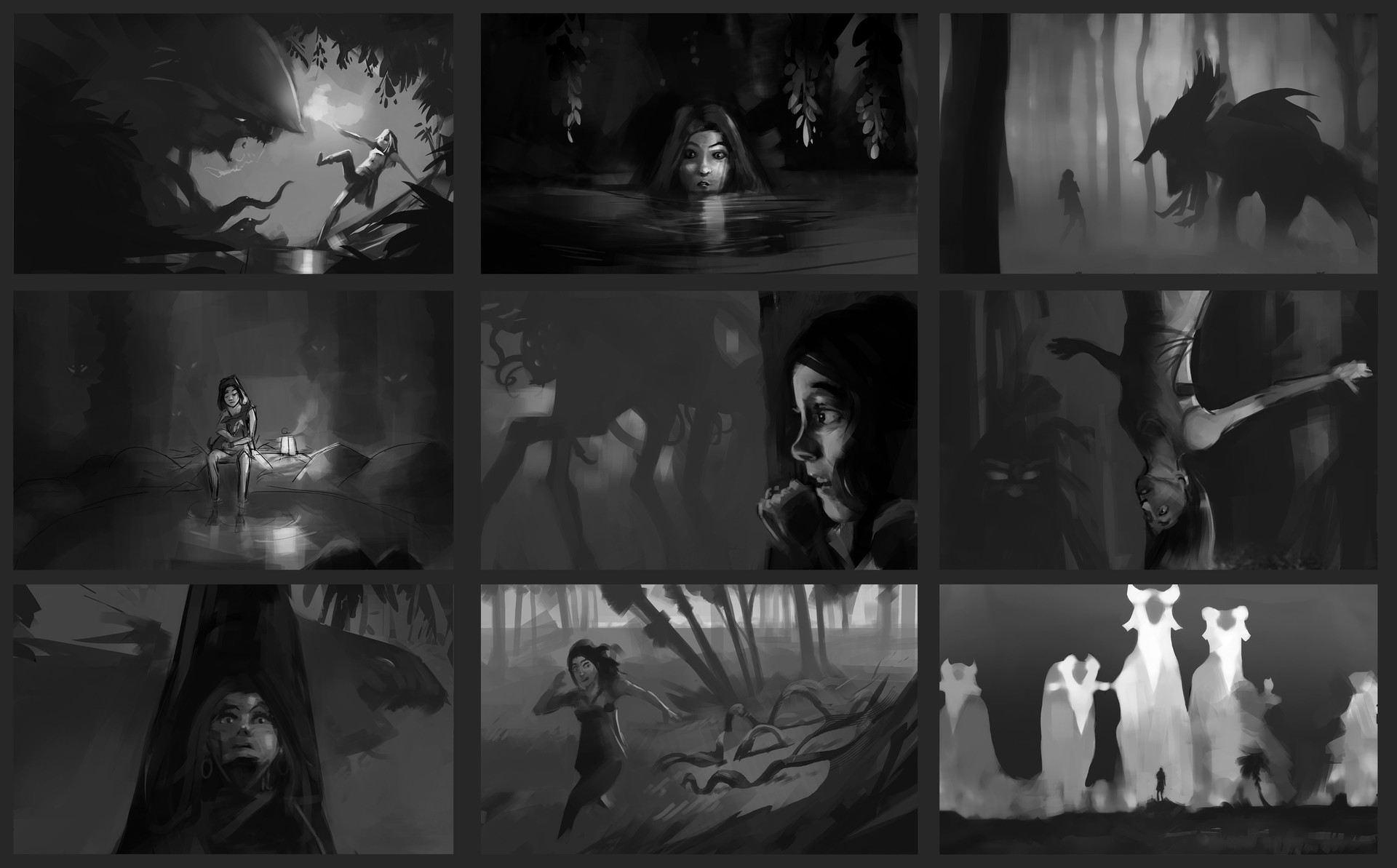 illustrations for a psychological thriller game i've been working on a while back.