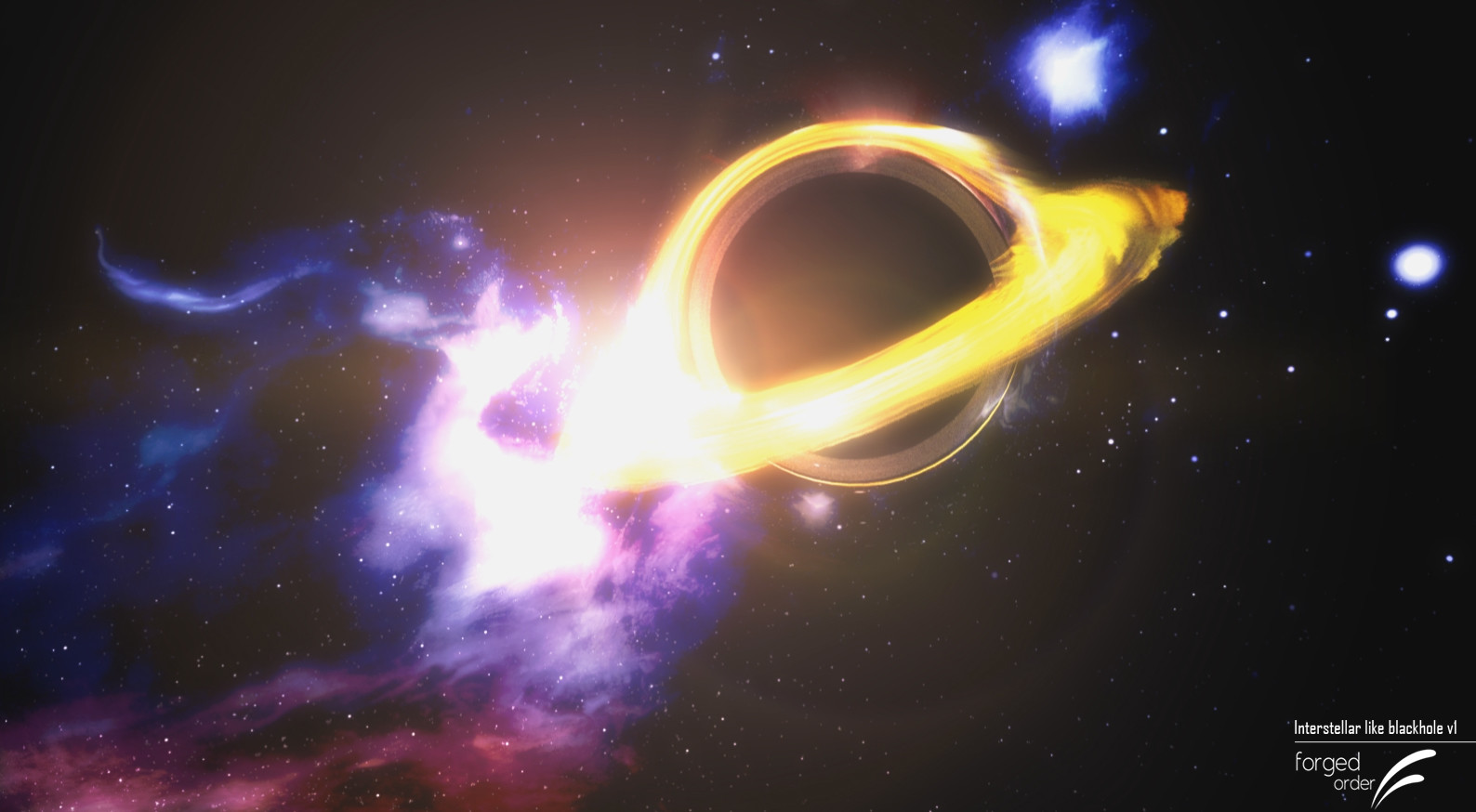 Interstellar Black Hole Effect with V-Ray and gravitational lensing