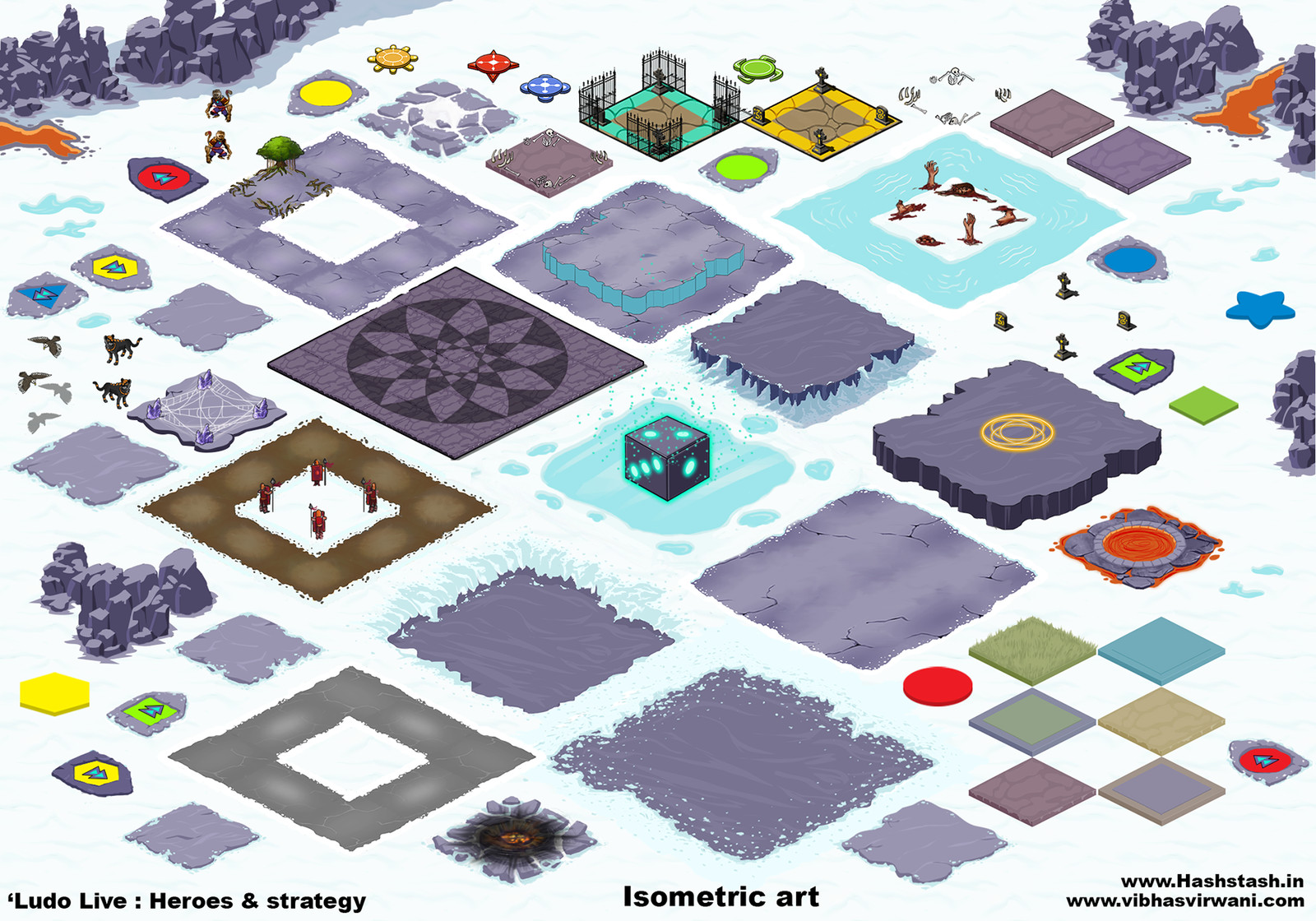 Isometric sprites used for creating the gameplay set