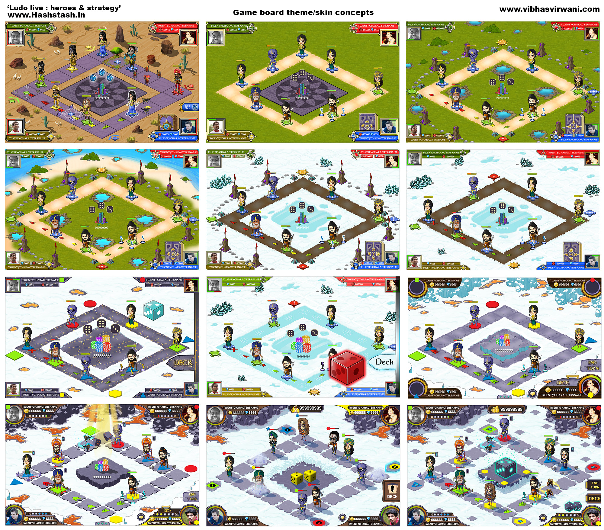 Game play screen variations & progress to the final background and screen layout