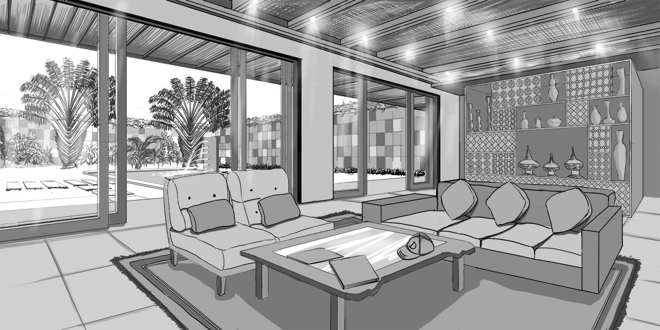 2 Point Perspective Living Room