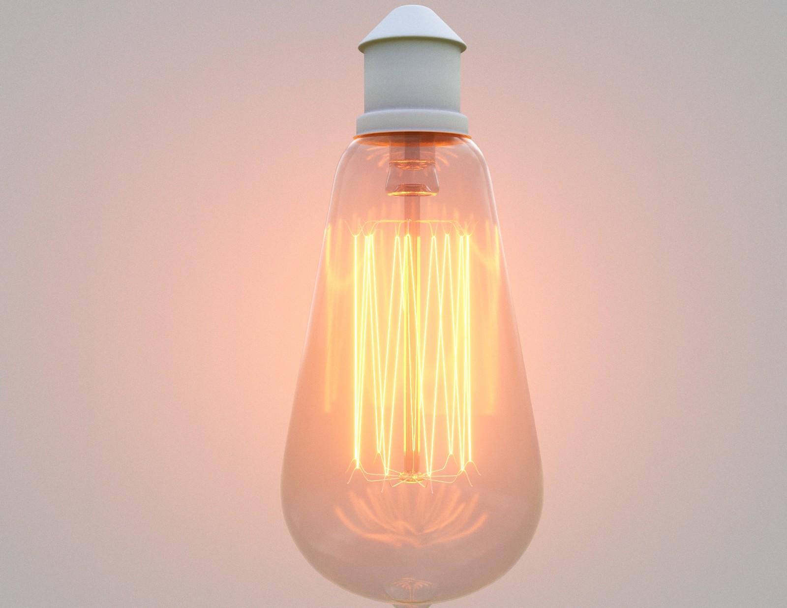 Incandescent Light Test 03. LightMtl - Intensity=500. Temp=2700K. Glass - Refraction=0.9. Color=255. Glossiness=1. IOR=1.52.  Reflection=1. Color=128. Glossiness=0.9. FrIOR=1.52. Translucency=1. Color=323D3D (Hex). Bloom=5. Glare=0.1
