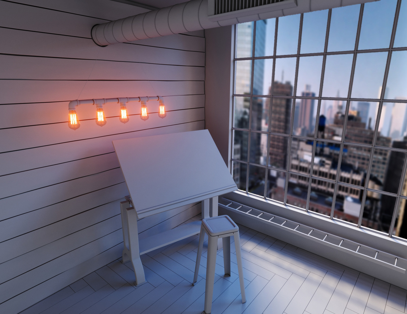 Lighting and Backplate Test. Added Corona Sun - Intensity=0.025. Size= 25. New HDRI (different from the background seen above) Models added - Drafting table, stool, window, helix and flaps on ventilator. Displaced the wall wood panels. Added flooring
