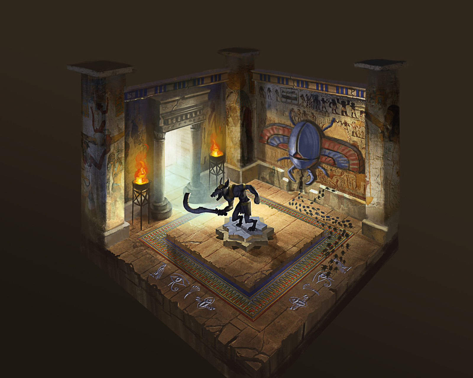 Step on the wrong stone and awaken Anubis to your doom.