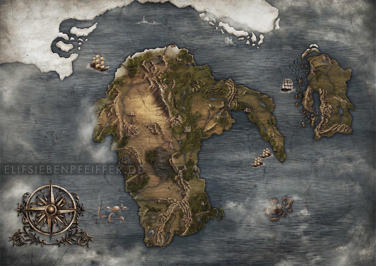 Fantasy Karte.Elif Siebenpfeiffer Fantasy Map
