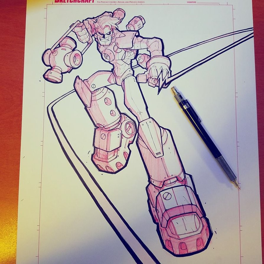 Step 04: Final linearts - Red Mechanical pencil & Copic Multiliners.