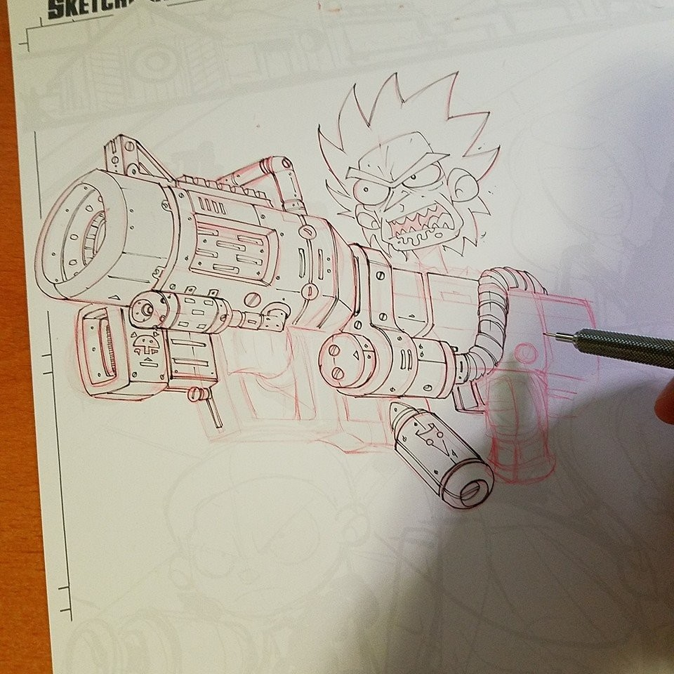 Step 07: Drawing with Red Mechanical pencil & Copic Multiliners WIP