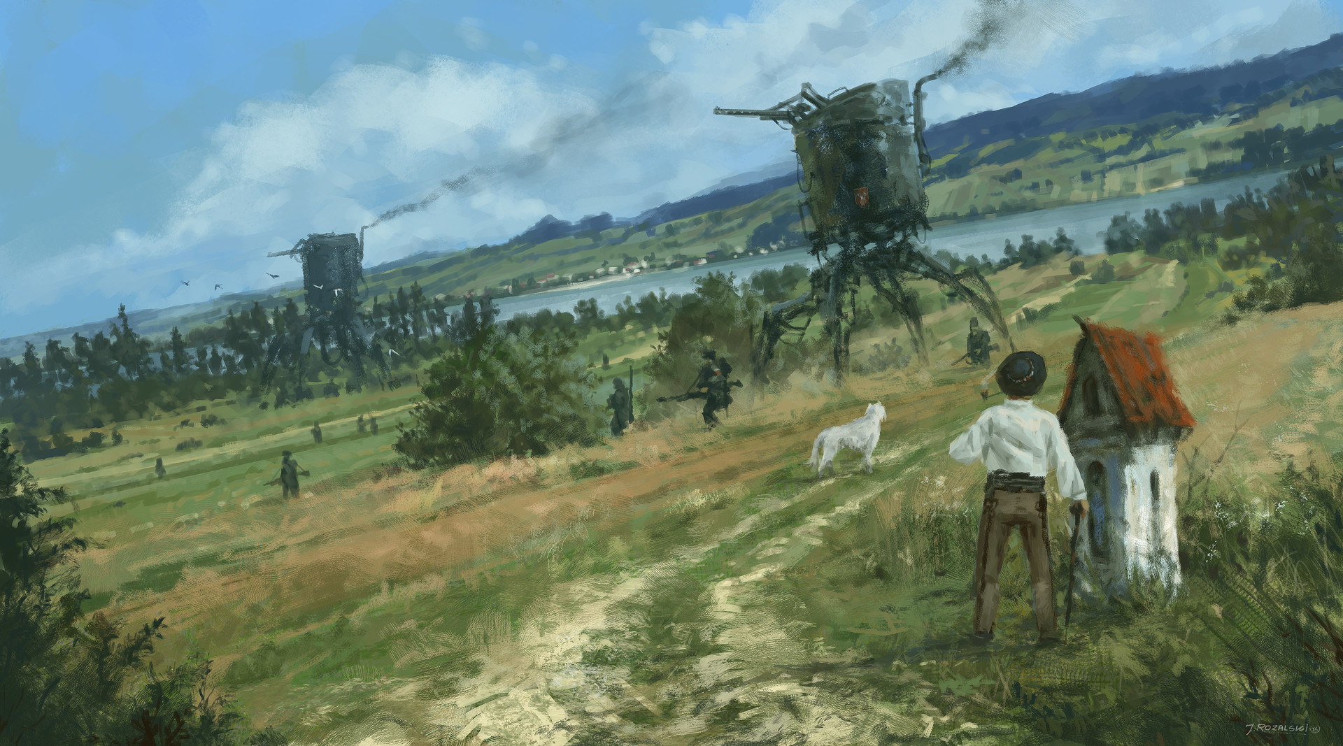 Jakub rozalski 1920 green fields