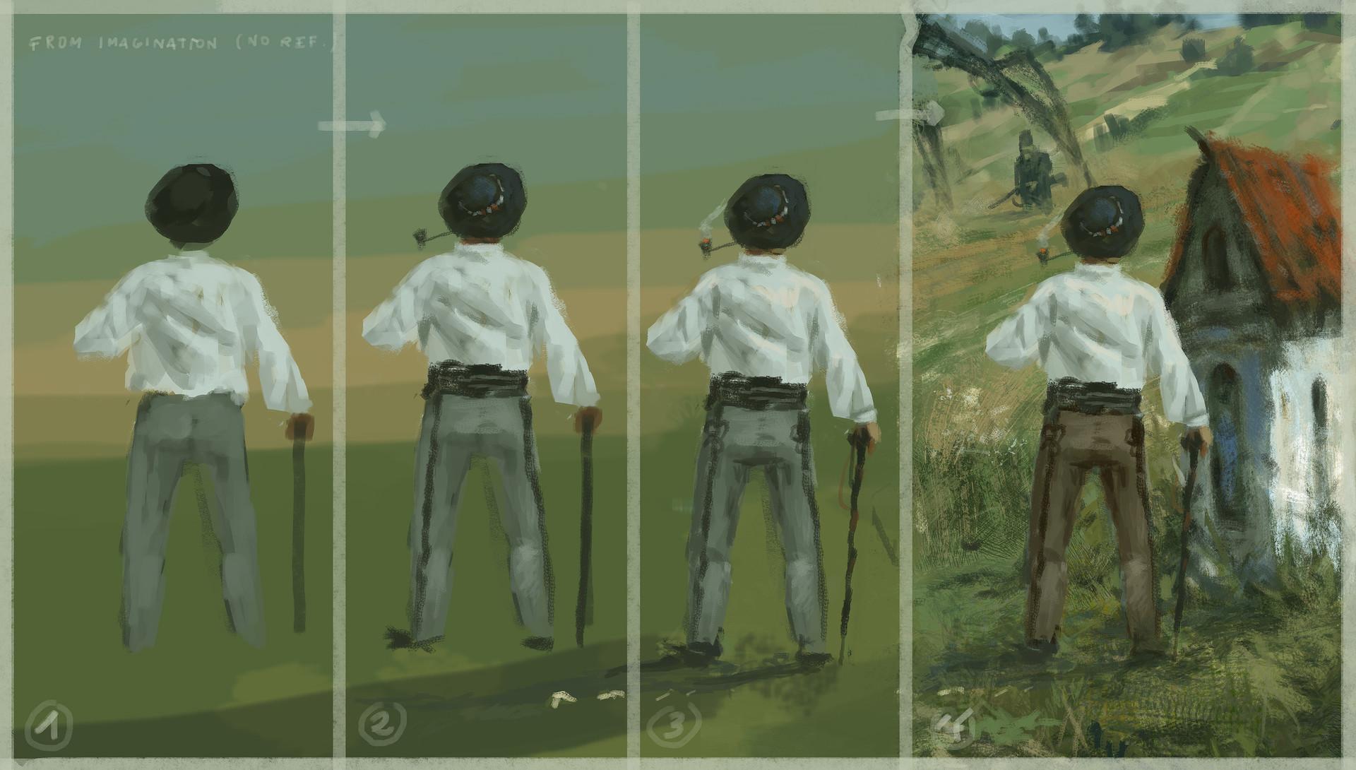 Jakub rozalski 1920 green fields process02