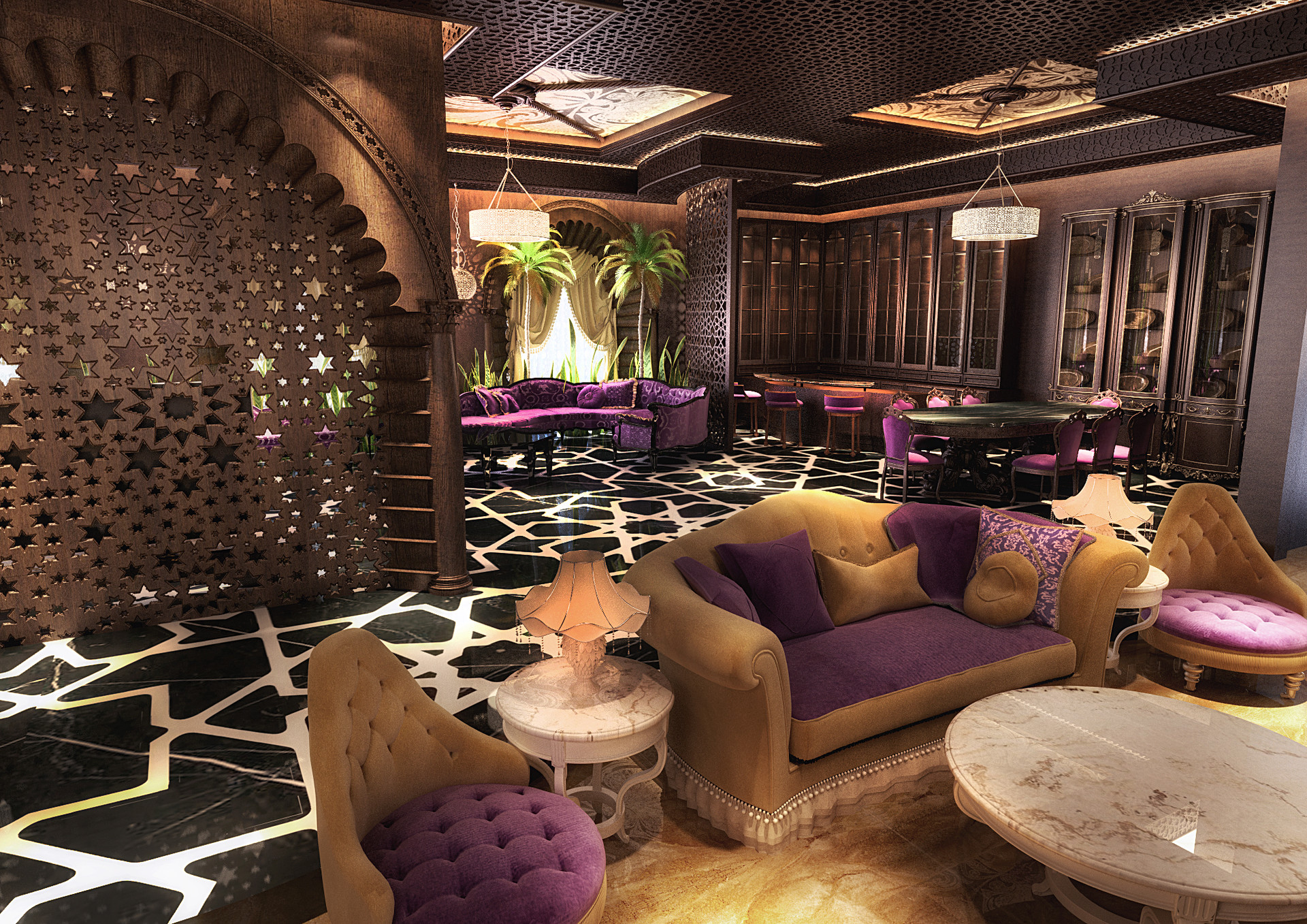 ArtStation - Moroccan Living room in Doha, Usmaan Mukhtar