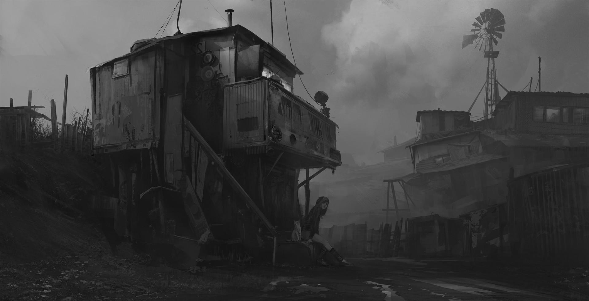 Sergey vasnev sunset in slums bw