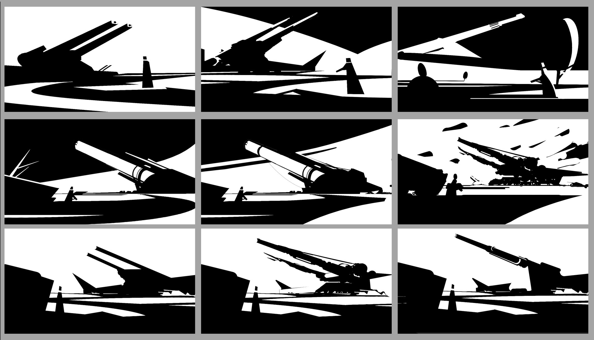 Just for fun, i did some very quick graphic comps', to block out the big shapes!